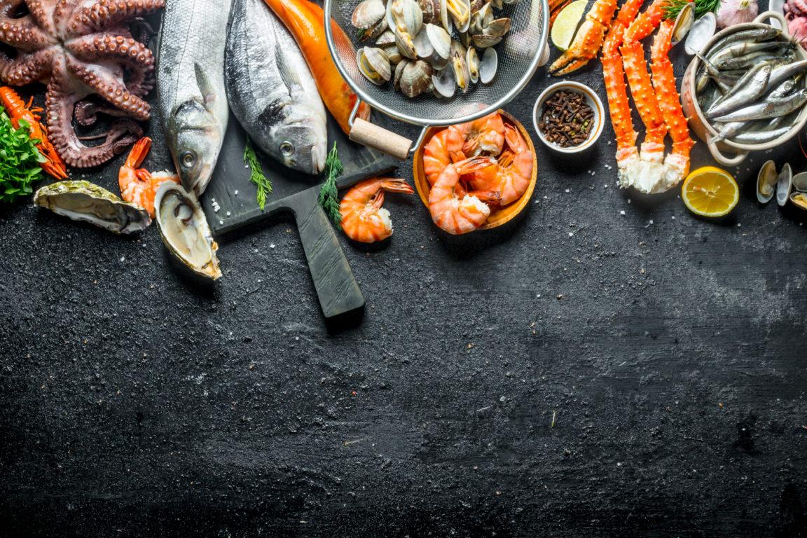 assortment of fresh seafood B6HDGR2