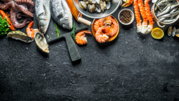 assortment of fresh seafood B6HDGR2