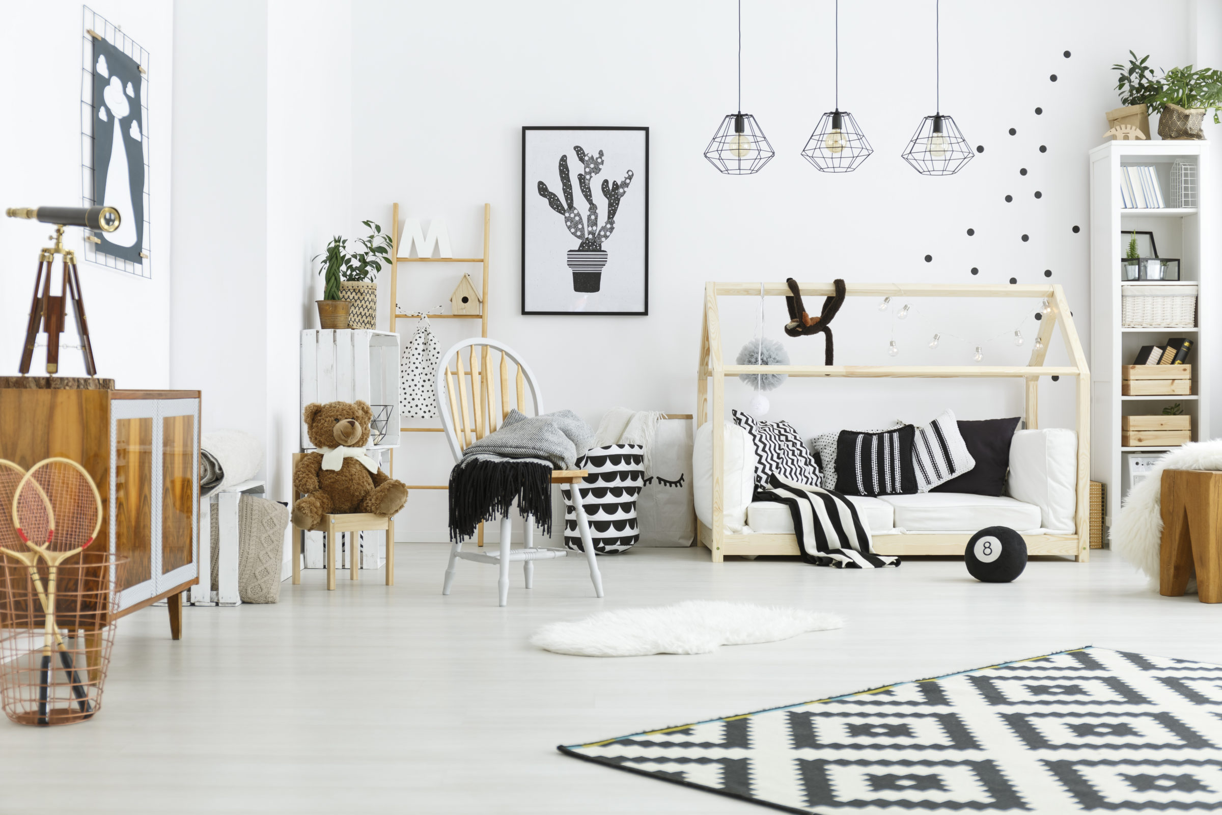 kids room with house bed P6G5K9J