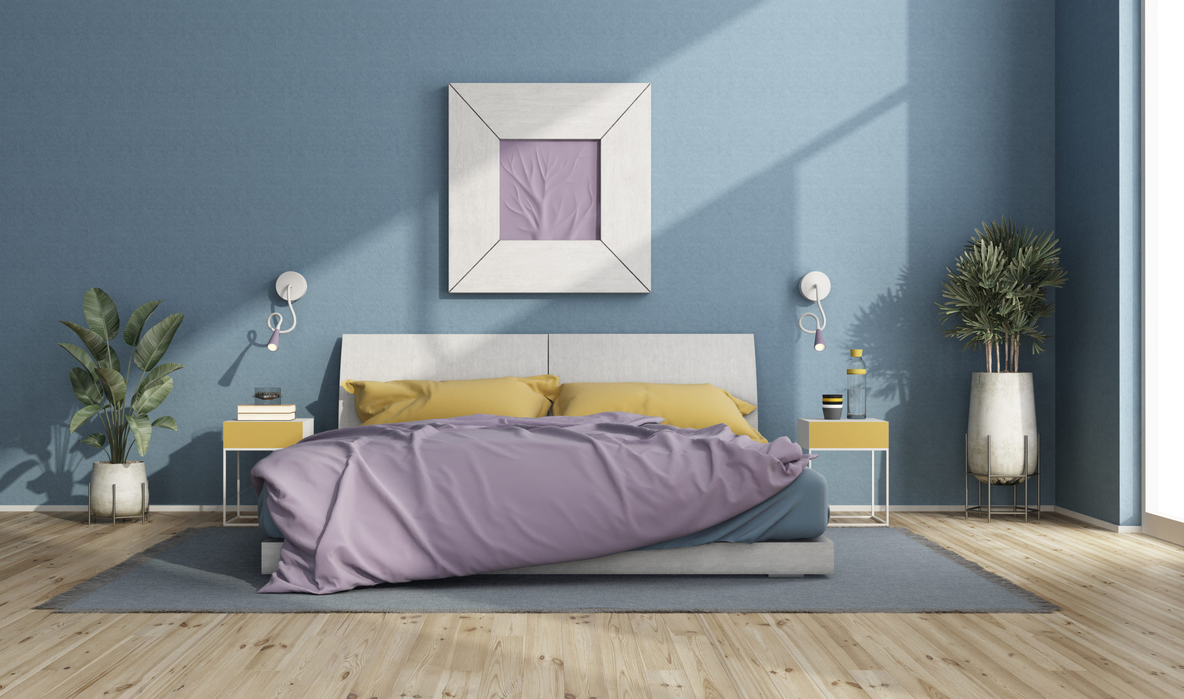 colorful double bed in a modern room with blue wal 2021 04 06 05 32 31 utc