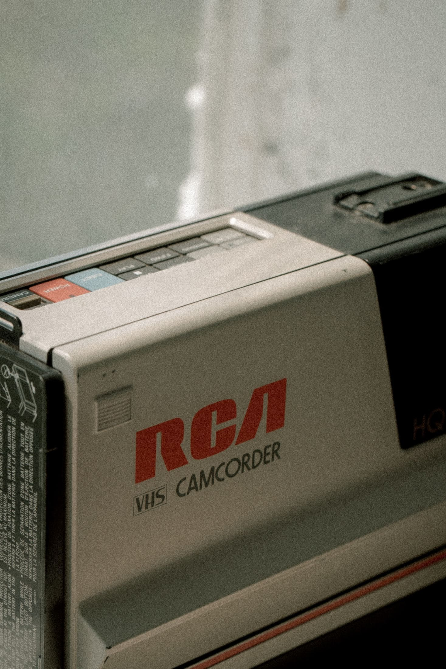 black and gray RCA camcorder