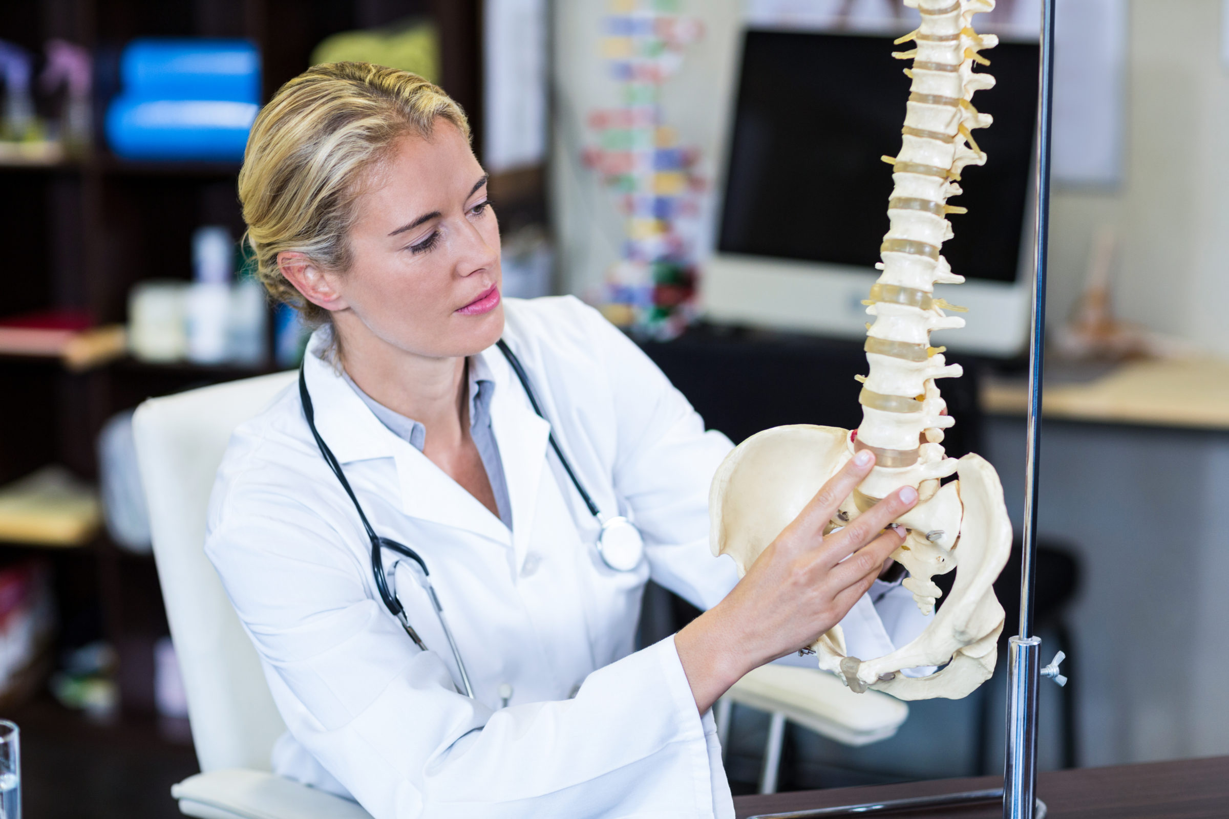 physiotherapist looking at spine model XBC4QUQ
