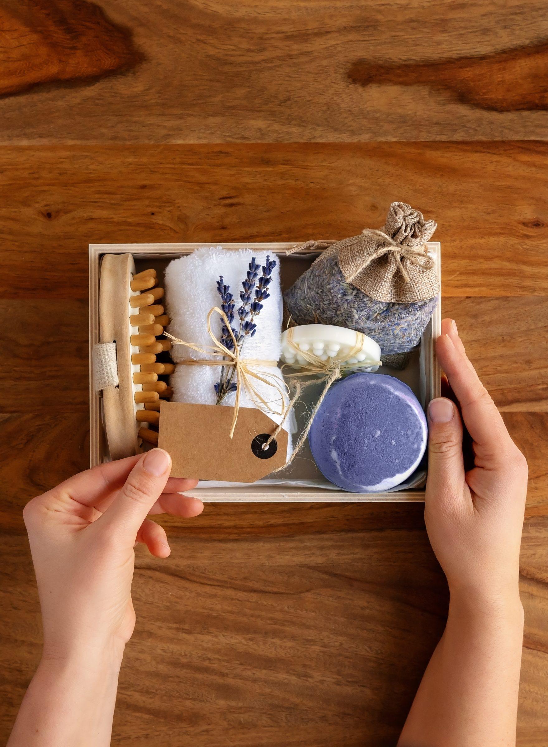 preparing homemade gift box or self care package w JFQEJGM