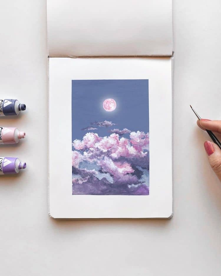 cathy camille gouache cloud paintings 14