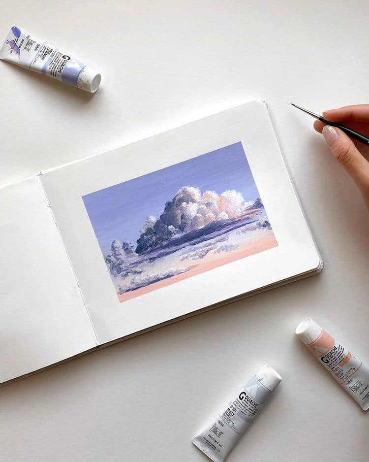 cathy camille gouache cloud paintings 19